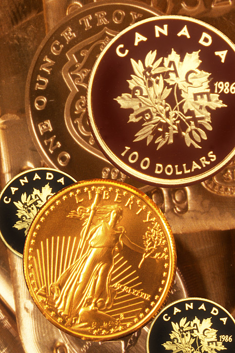 One Troy Ounce Us And Canadian Gold Coins Print by Lyle Leduc