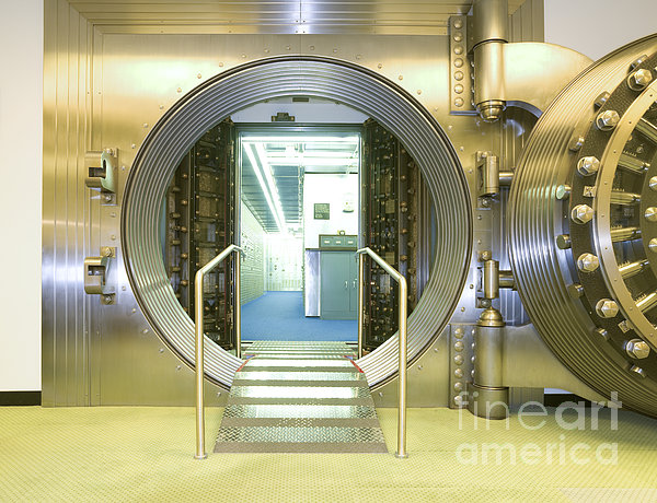 Open Vault At A Bank Print by Adam Crowley