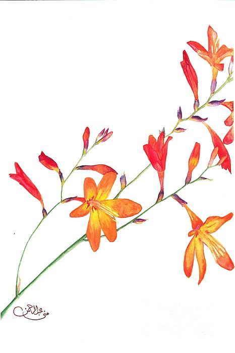 Orange Flowers Print by Muna Abdurrahman