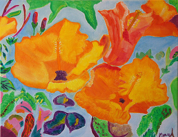 Orange Flowers Reaching For The Sun Print by Meryl Goudey