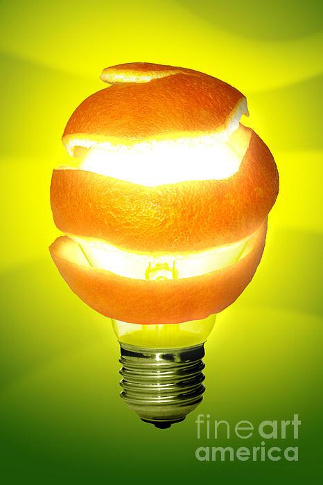 Orange Lamp Print by Carlos Caetano