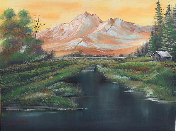 Orange Mountain Print by Remegio Onia