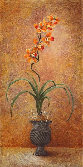 Orange Orchid Print by Pam Talley
