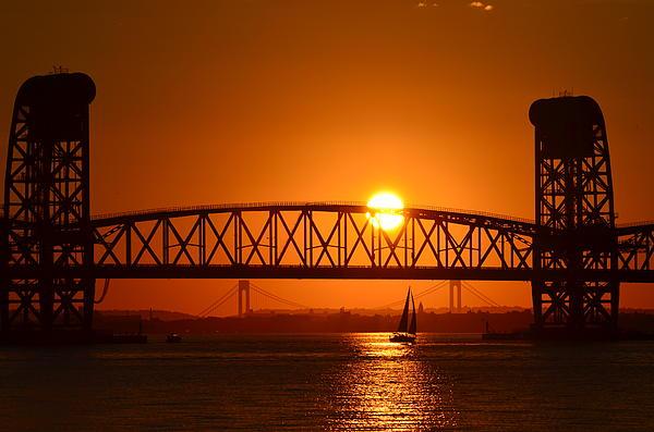 Maureen E Ritter - Orange Sunset Brooklyn Bridges Sailboat