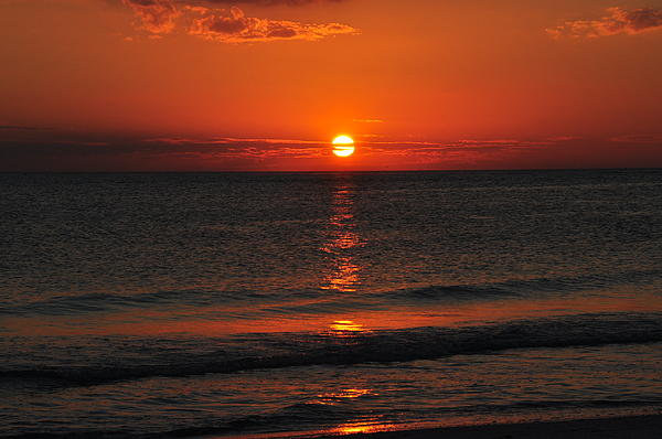 Orange Sunset  Print by Ron Mroski