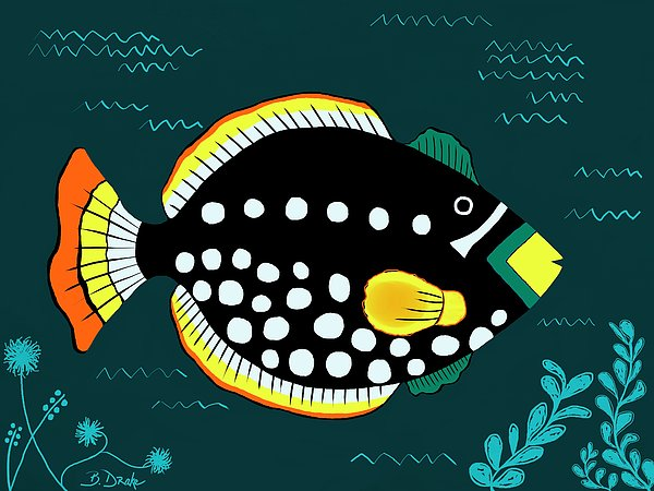Orange Tail Polka-dot Yellow Nose Snap Fish Print by Barbara Drake