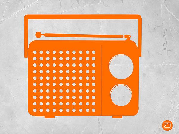 Orange Transistor Radio Print by Naxart Studio