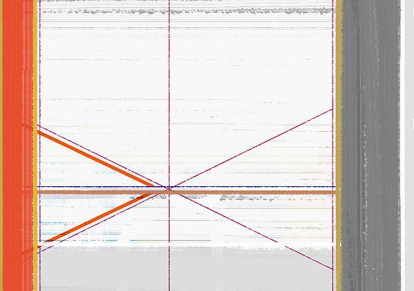 Orange Triangles With Grey Print by Naxart Studio