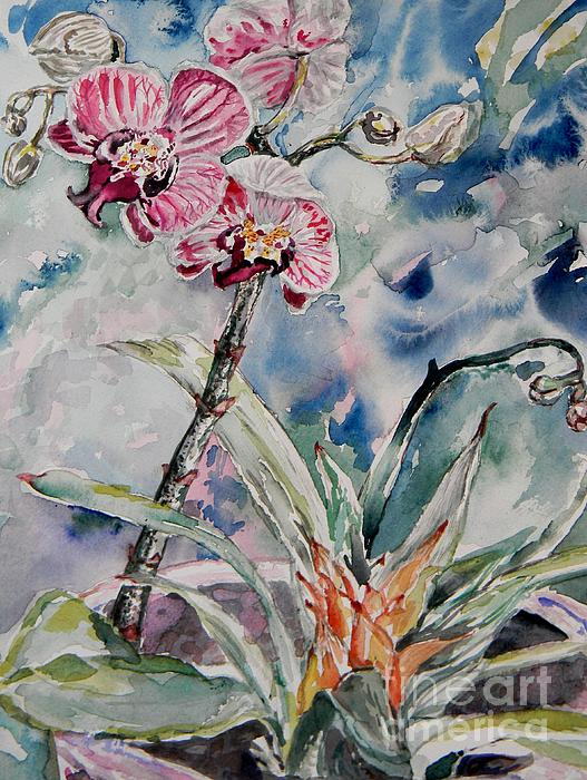 Emily Michaud - Orchids on Blue