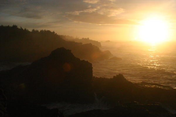 Oregon Coast Sunset Pyrography  - Oregon Coast Sunset Fine Art Print