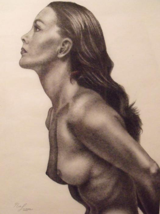 Original Charcoal Nude Female Profile Study Print by Neal Luea