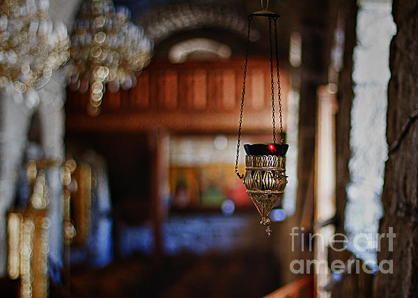 Orthodox Church Oil Candle Print by Stylianos Kleanthous