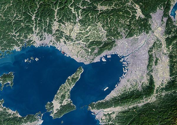 Osaka, Satellite Image Print by Planetobserver