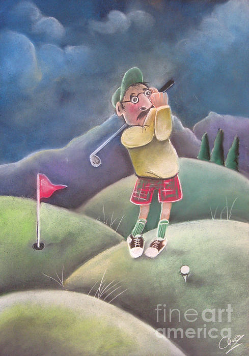 Out On The Course Print by Caroline Peacock