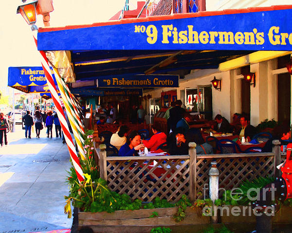 Outdoor Dining At The Fishermens Grotto Restaurant . Fisherman.s Wharf . San Francisco California Print by Wingsdomain Art and Photography