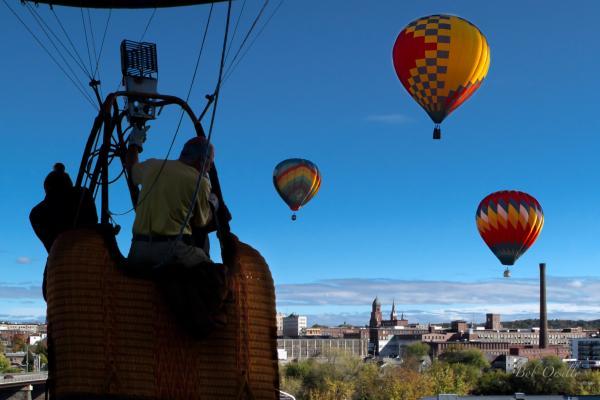 Over Auburn And Lewiston Hot Air Balloons Print by Bob Orsillo