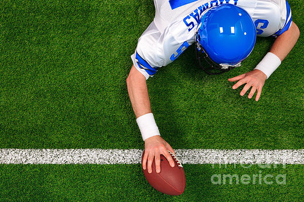 Overhead American Football Player One Handed Touchdown Print by Richard Thomas
