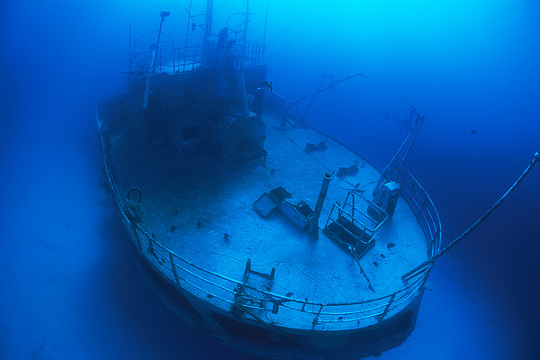 Overhead View Of A Shipwreck On The Sea Print by Nick Caloyianis