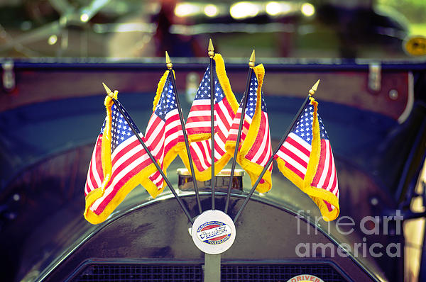 Overland Vintage Car With Flags Print by Floyd Menezes