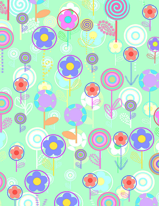 Overlayer Flowers Print by Louisa Knight