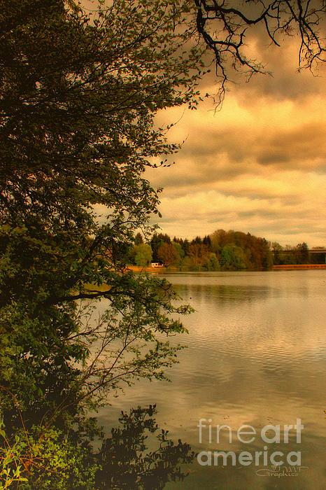 Overlooking The Lake Print by Jutta Maria Pusl