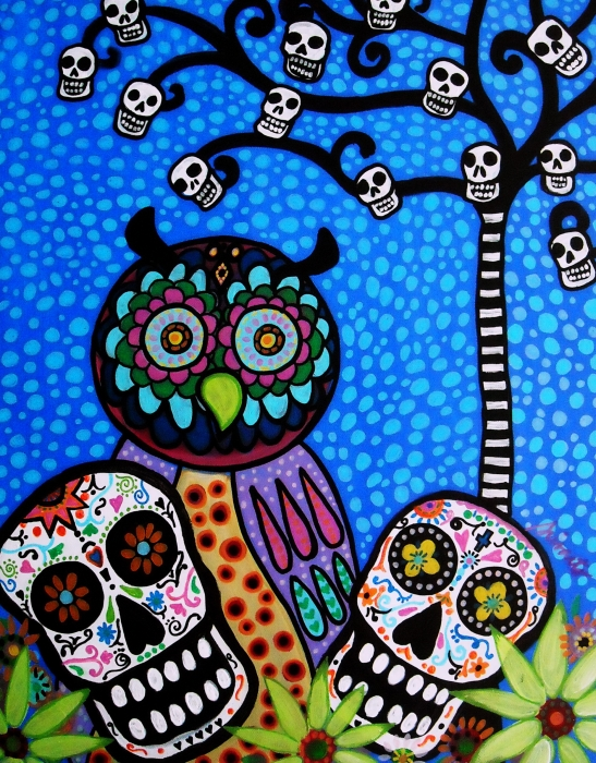 Owl And Sugar Day Of The Dead Painting  - Owl And Sugar Day Of The Dead Fine Art Print