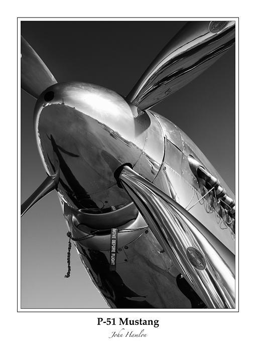 P-51 Mustang - Bordered Print by John Hamlon