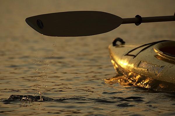 Paddling A Kayak Over Walden Pond Print by Tim Laman