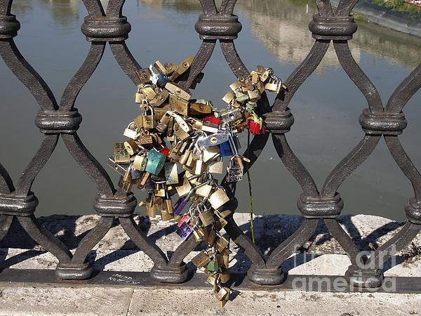 Padlocks On Bridge. Rome Print by Bernard Jaubert