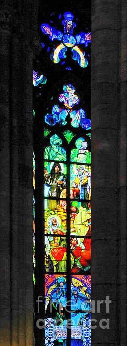 Painted Glass - Alfons Mucha  - St. Vitus Cathedral Prague Print by Christine Till