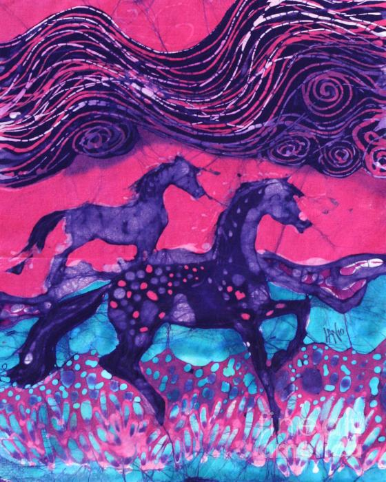 Painted Horses Below The Wind Tapestry - Textile