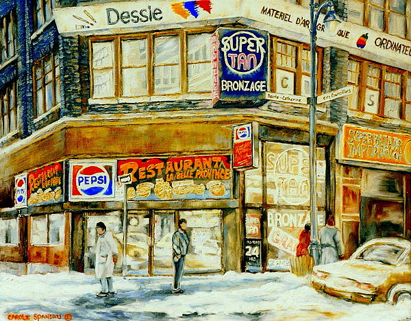 Paintings Of Montreal Streets Downtown Restaurants Rue Ste. Catherine City Scene Print by Carole Spandau