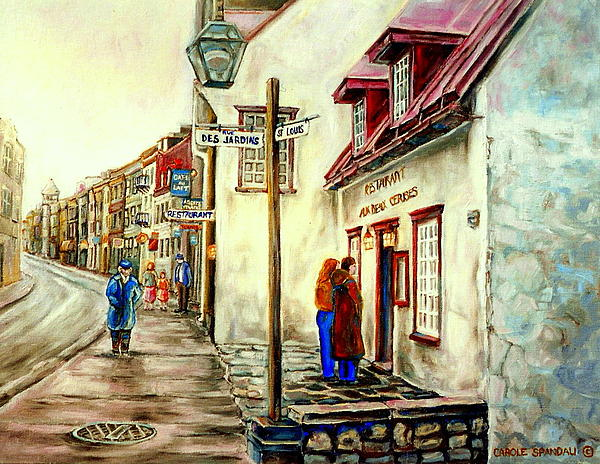 Paintings Of Quebec Landmarks Aux Anciens Canadiens Restaurant Rainy Morning October City Scene  Print by Carole Spandau
