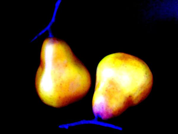 Pair Of Pears Yellow Print by Randall Weidner
