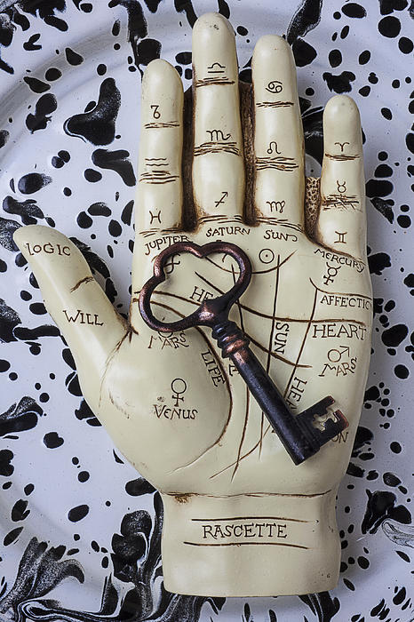 Palm Reading Hand And Key Print by Garry Gay