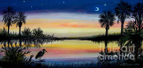 Palmetto Tree And Moon Low Country Sunset Print by Patricia L Davidson