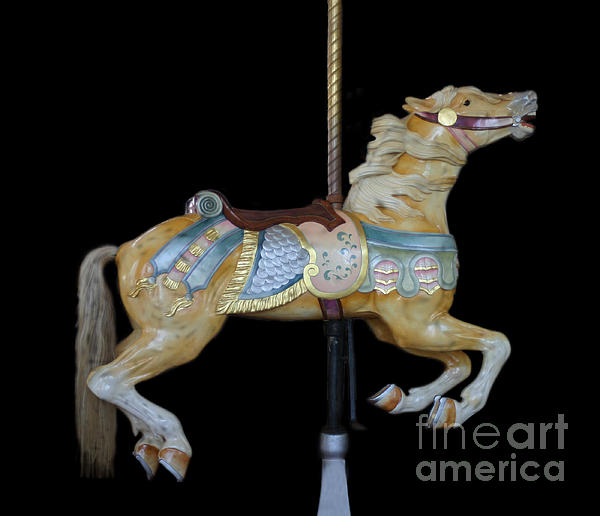 Palomino Carousel Horse Print by Cindy Lee Longhini
