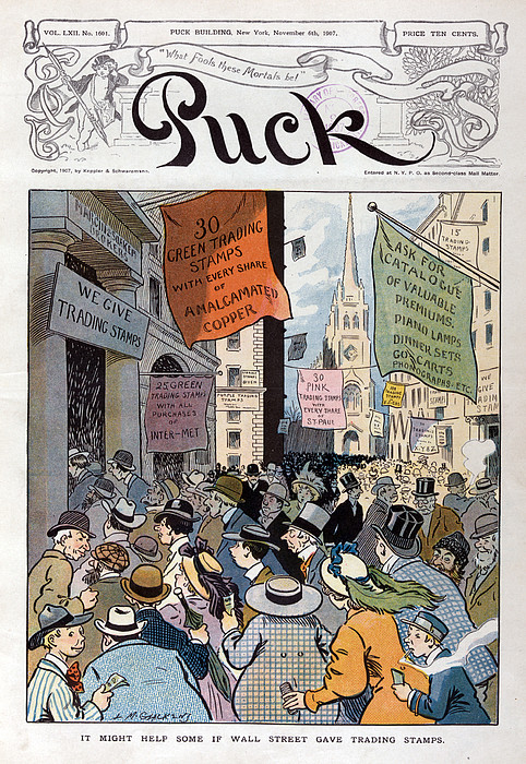 Panic Of 1907. Illustration Shows Print by Everett