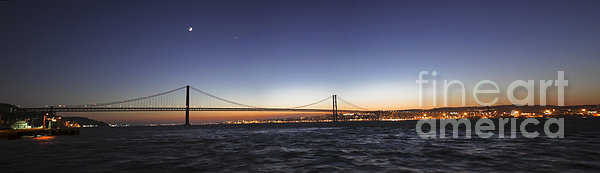 Panoramic Scene Of Lisbon, Portugal Print by Miguel Claro