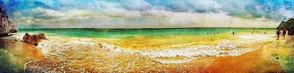 Panoramic Seaside At Tulum Print by Tammy Wetzel