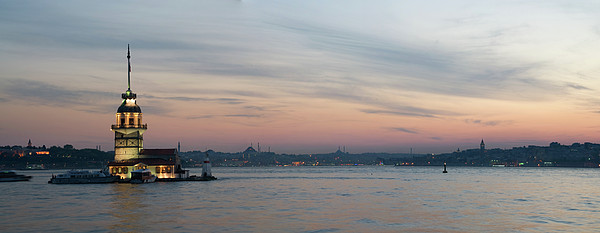 Panoramic View Of Maiden Tower Print by Doruk Photography