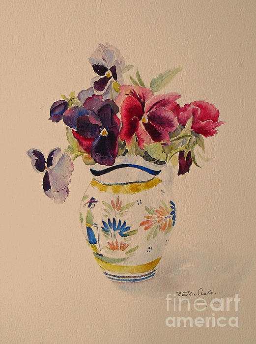Beatrice Cloake - Pansies in a Quimper pot