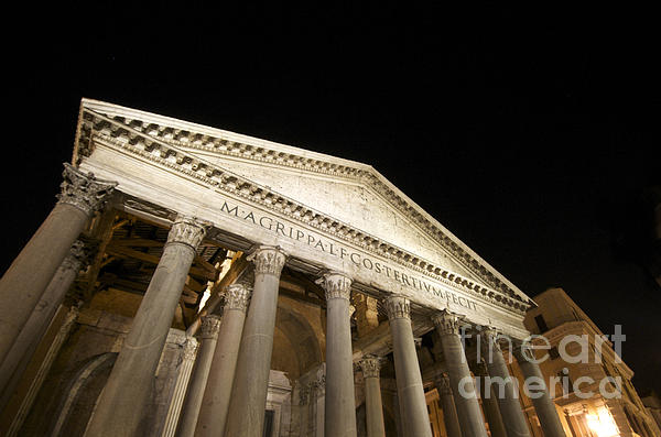Pantheon At Night. Rome Print by Bernard Jaubert