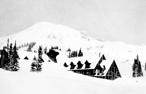 Paradise Inn Buried In Snow, 1917 Print by Science Source