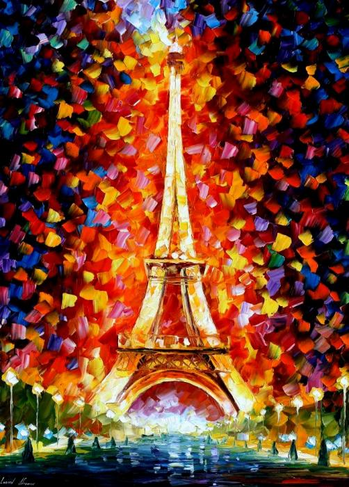 Paris - Eiffel Tower Lighted Painting  - Paris - Eiffel Tower Lighted Fine Art Print