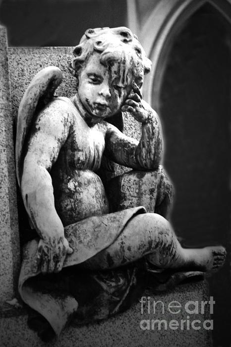 Paris Cemetery - Pere La Chaise - Black And White Cherub Print by Kathy Fornal