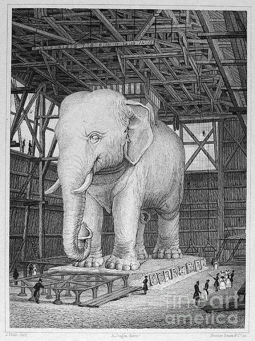 Paris: Elephant Monument Print by Granger