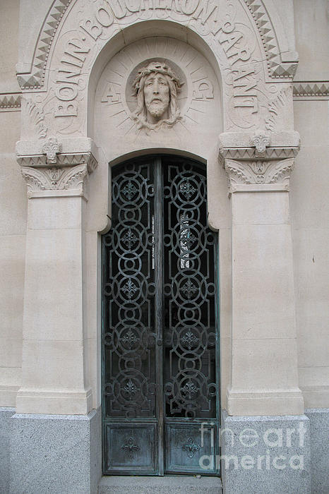 Paris Mausoleum Door With Jesus Print by Kathy Fornal
