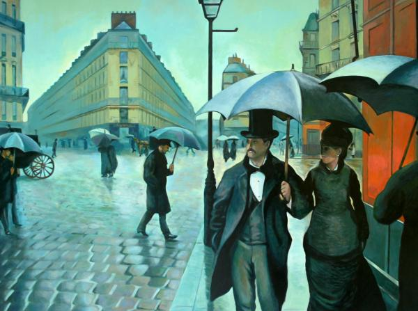 Paris Street Rainy Day Painting  - Paris Street Rainy Day Fine Art Print
