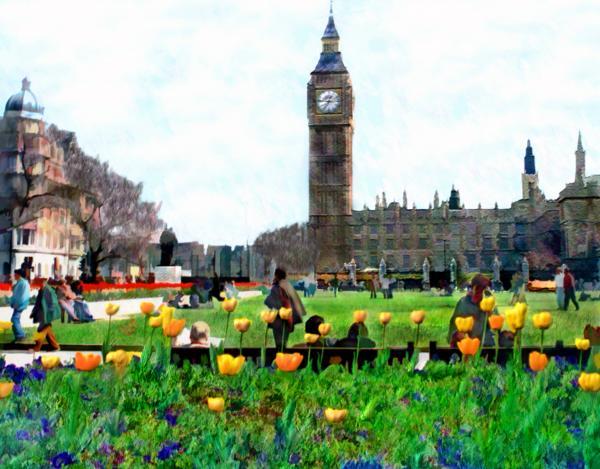 Parliament Square London Print by Kurt Van Wagner